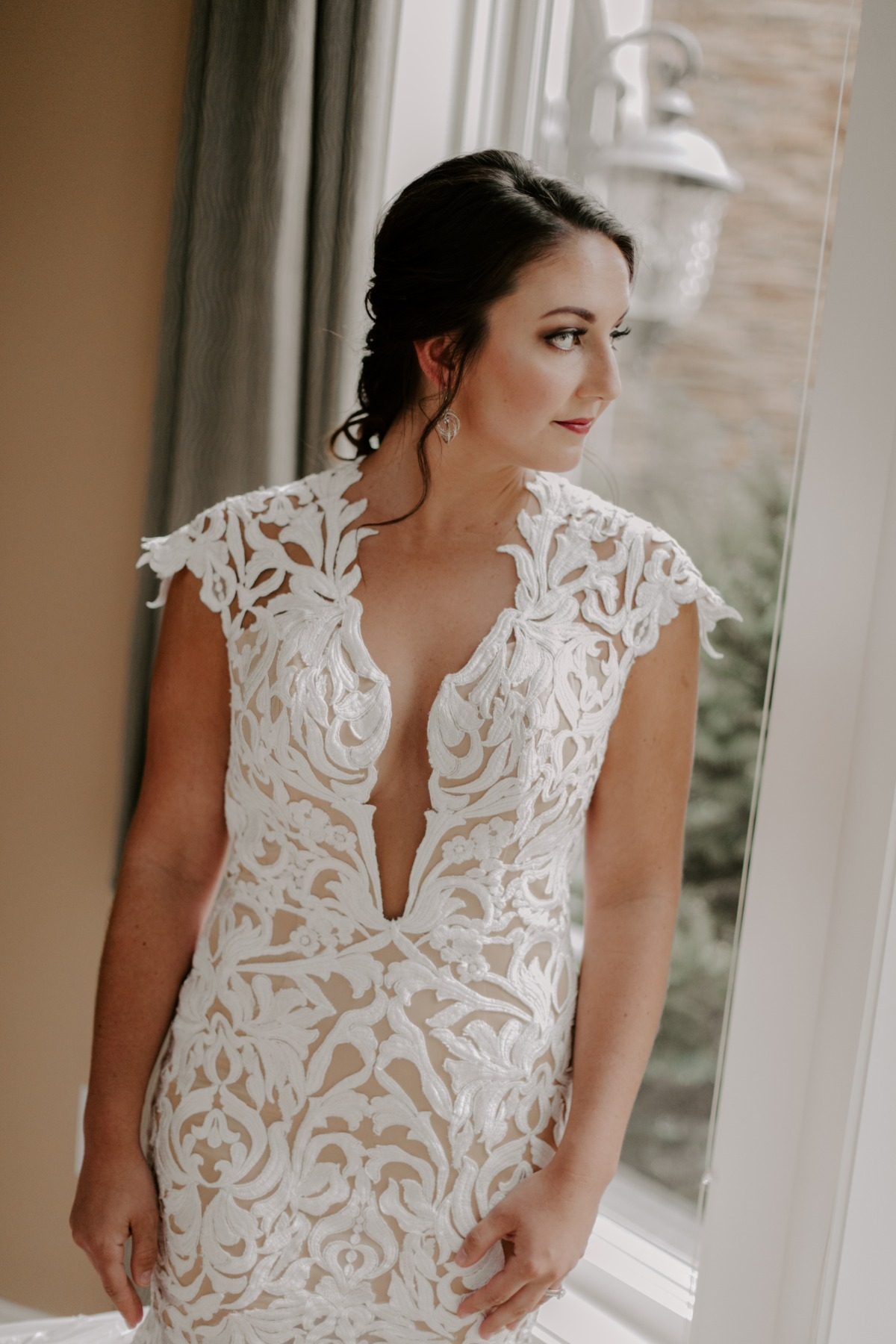 Deep plunge wedding dress