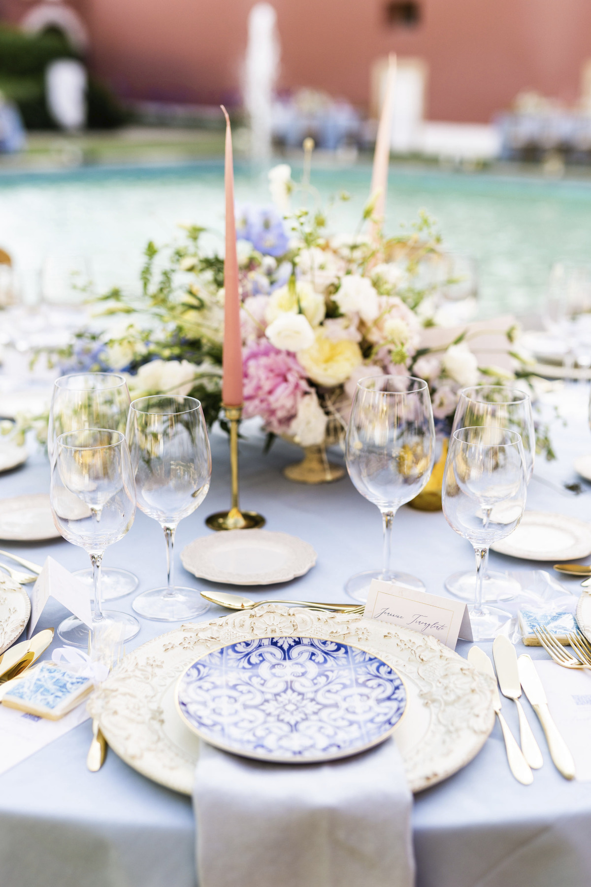 Romantic reception tablescape