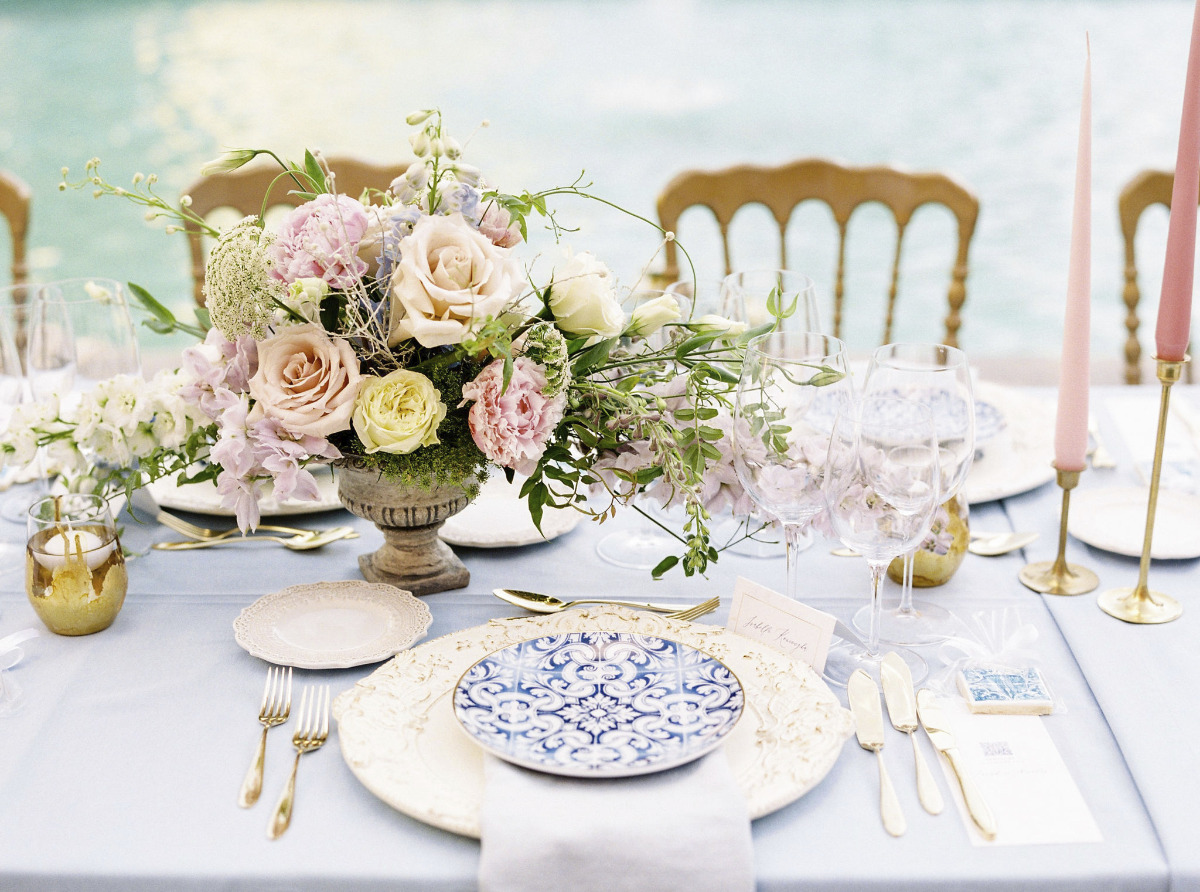 Elegant blue and white place setting
