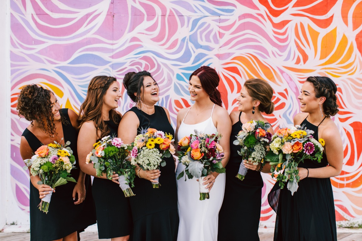 fun and funky bridal party portraits