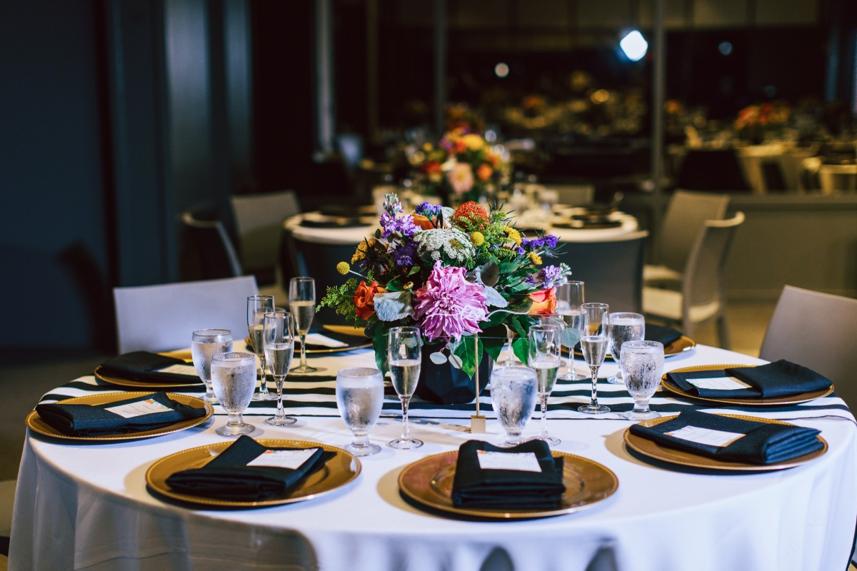 bold black white and gold wedding table decor
