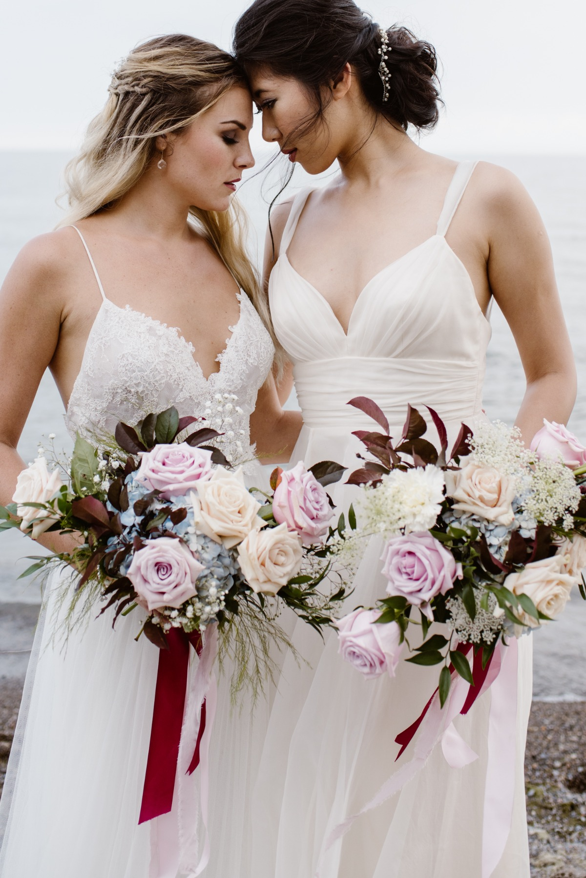 Romantic burgundy and blue lesbian wedding inspiration