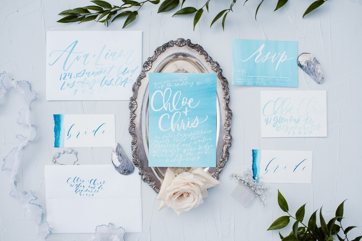 Blue watercolor invitation suite