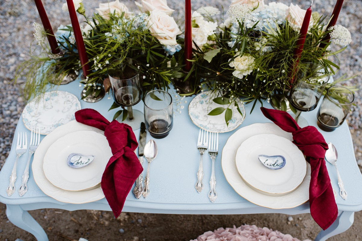 Burgundy and blue beach wedding