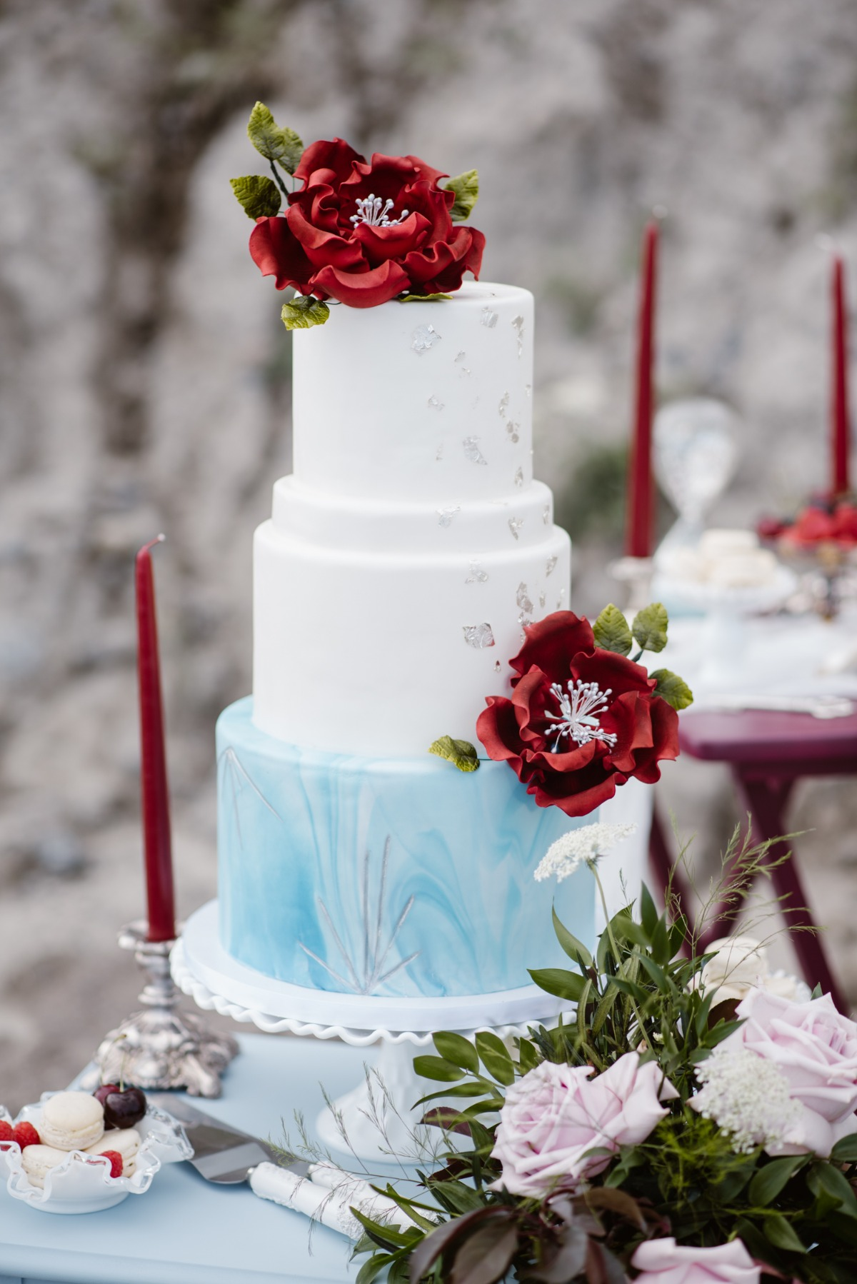 Blue, white, and silver wedding cake