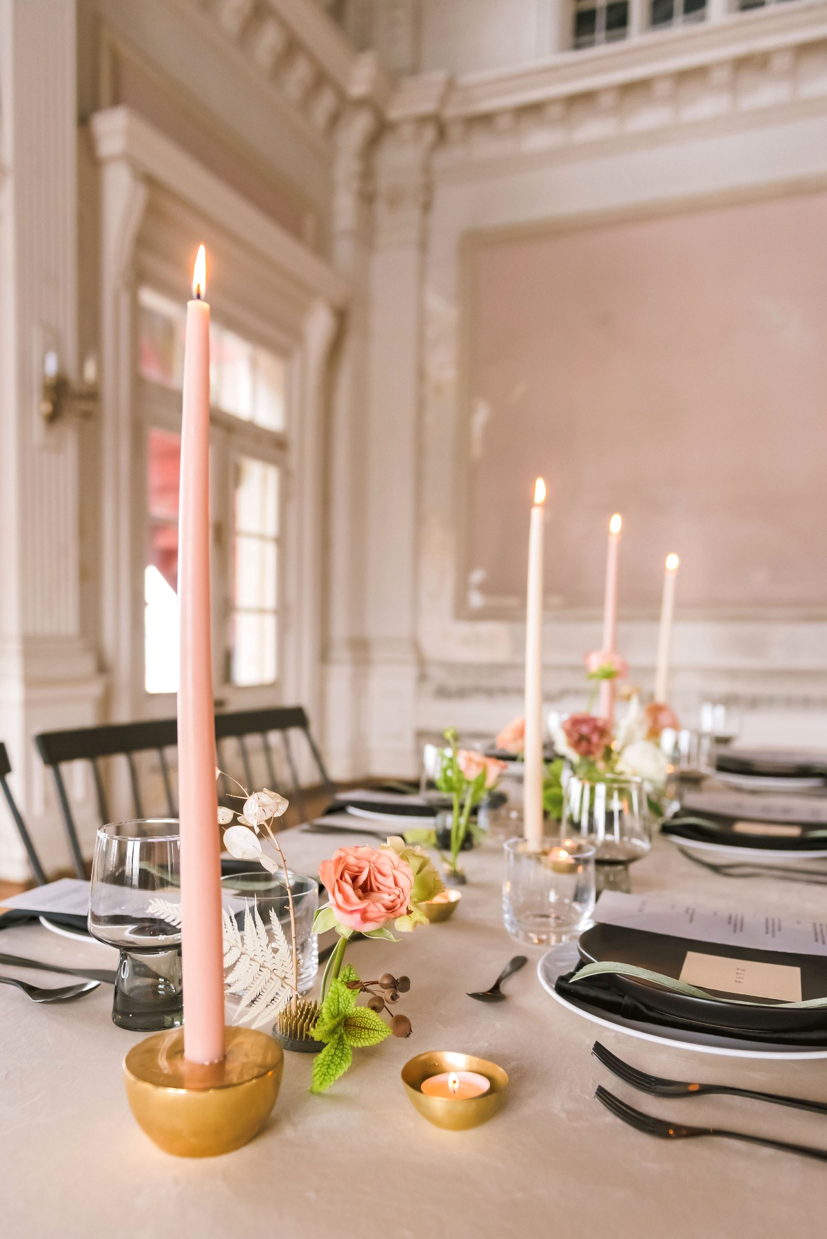 blush candle sticks for your modern spring wedding table