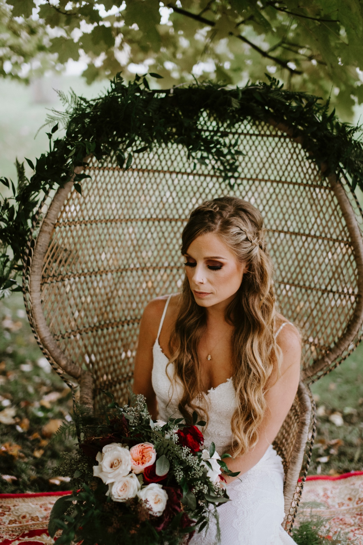 Boho bridal hair and makeup