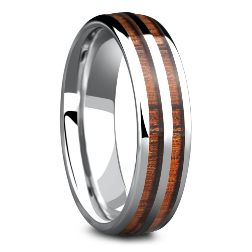The Wood Silver Barrel Ring. This men's wedding ring is inlaid with natural koa wood. This ring comes in black or silver and is also
