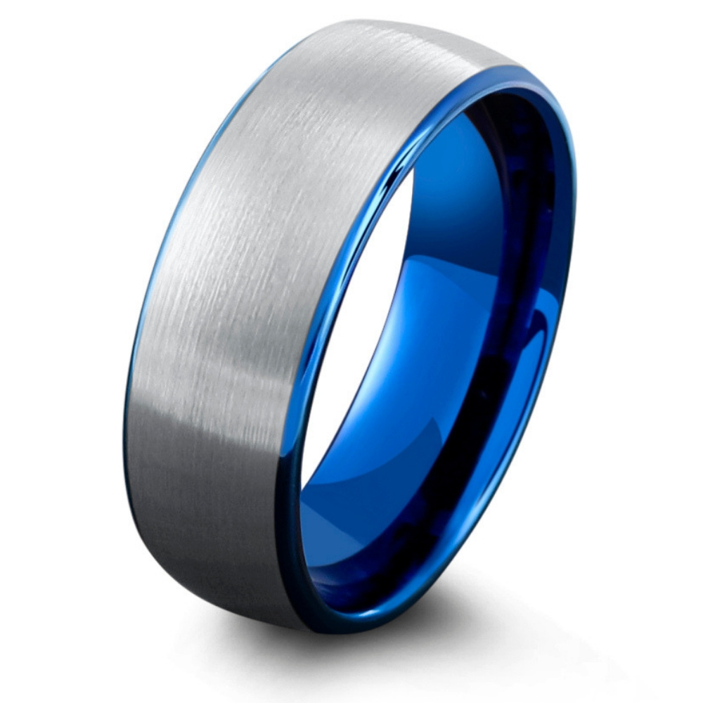 Mens Ocean Blue Wedding Ring. Silver brushed textured top with a high polish blue interior.