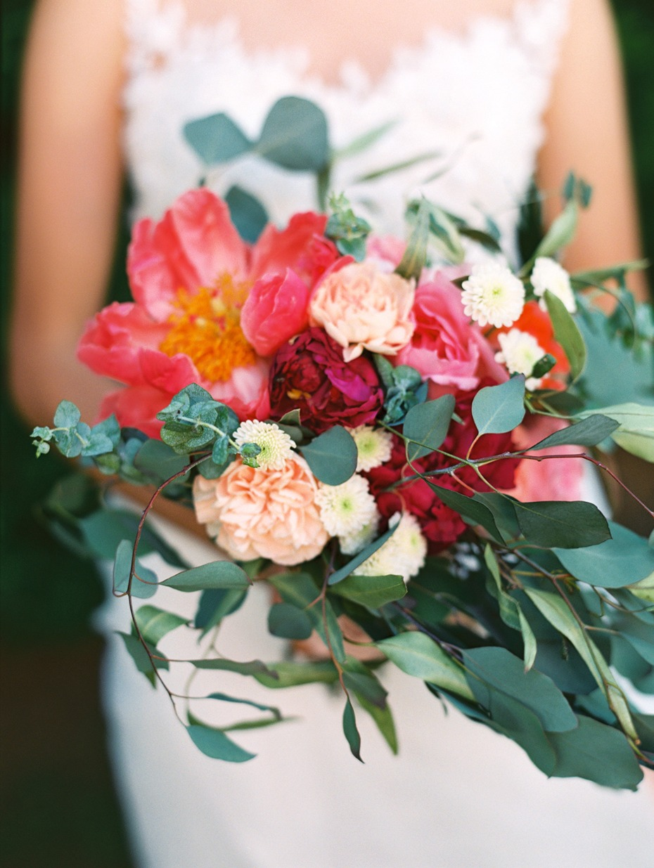 coral and blush wedding bouquet