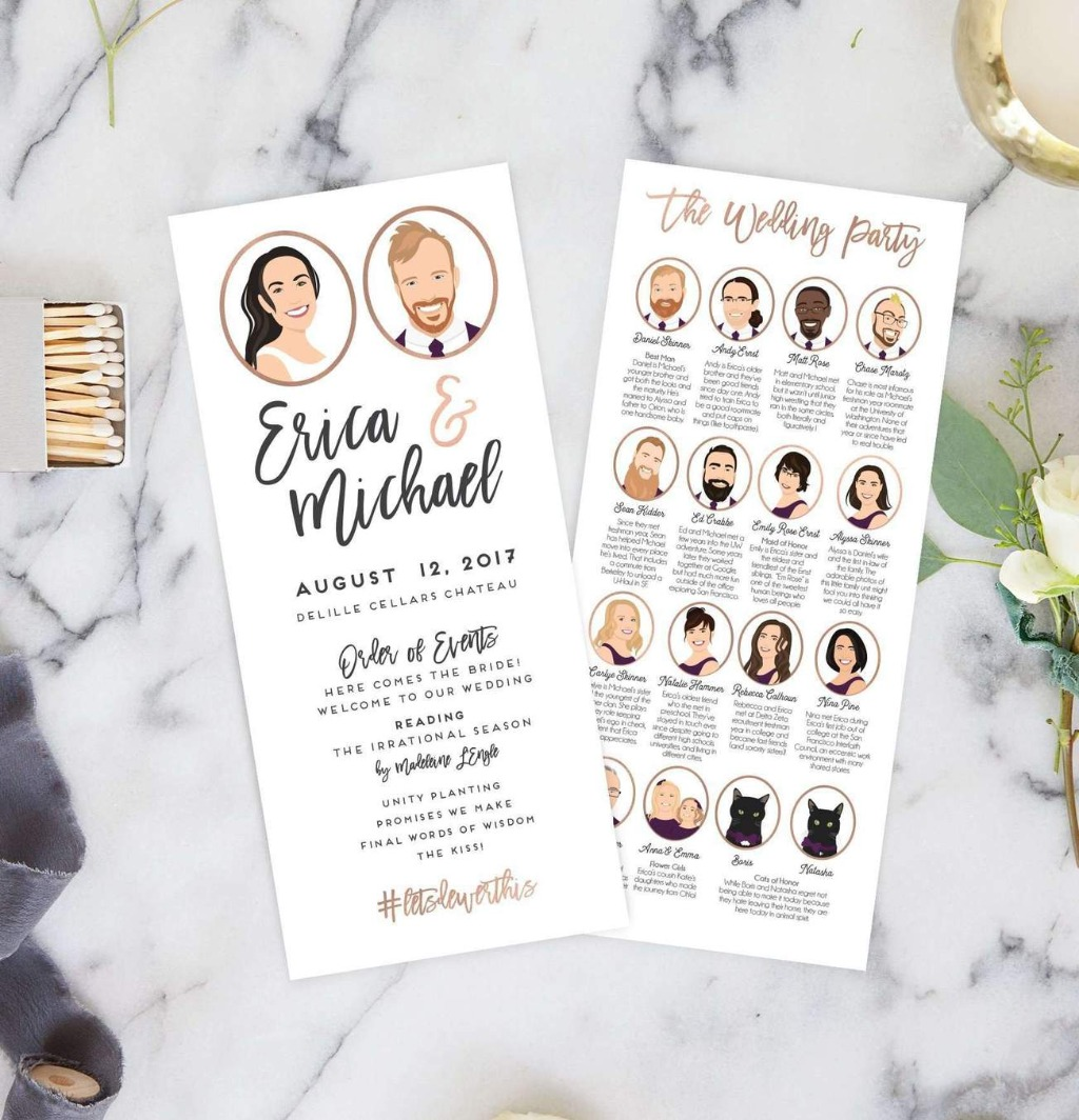 These awesome Wedding Ceremony Programs with Portraits from Miss Design Berry are the perfect way to keep your guests in the loop and