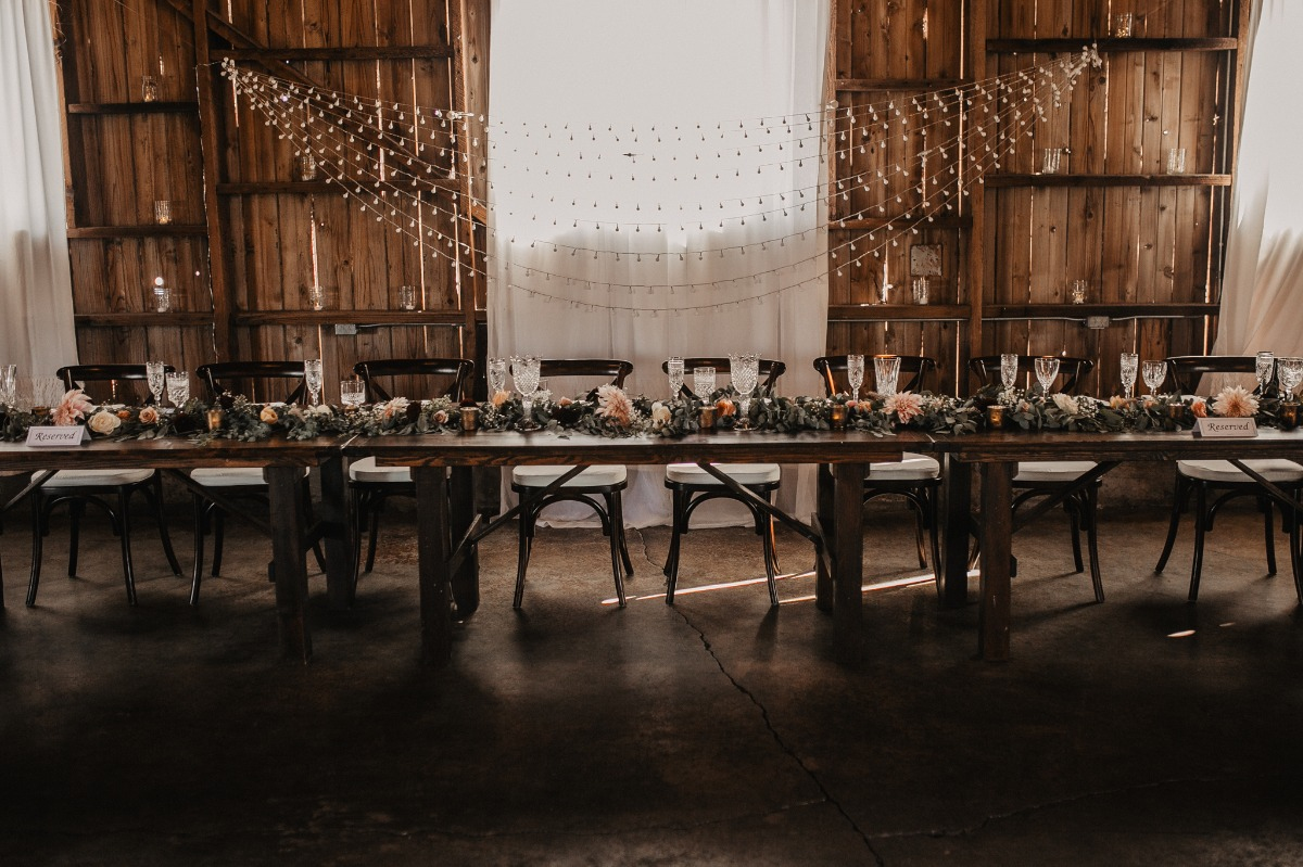 rustic chic wedding head table