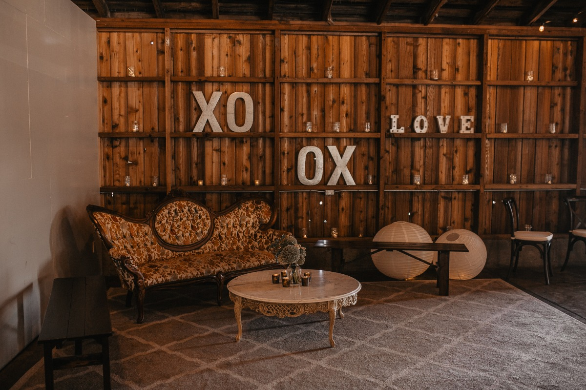 cute rustic wedding lounge