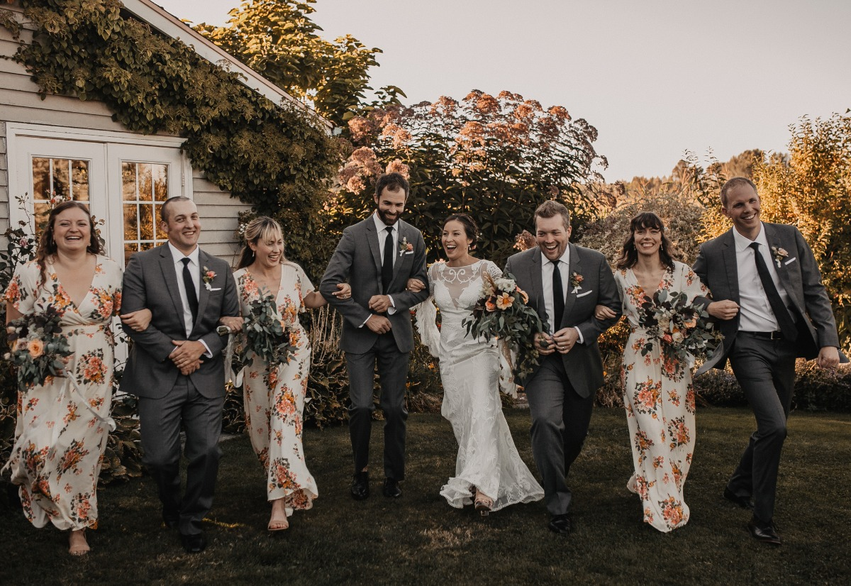 wedding party in floral print and grey