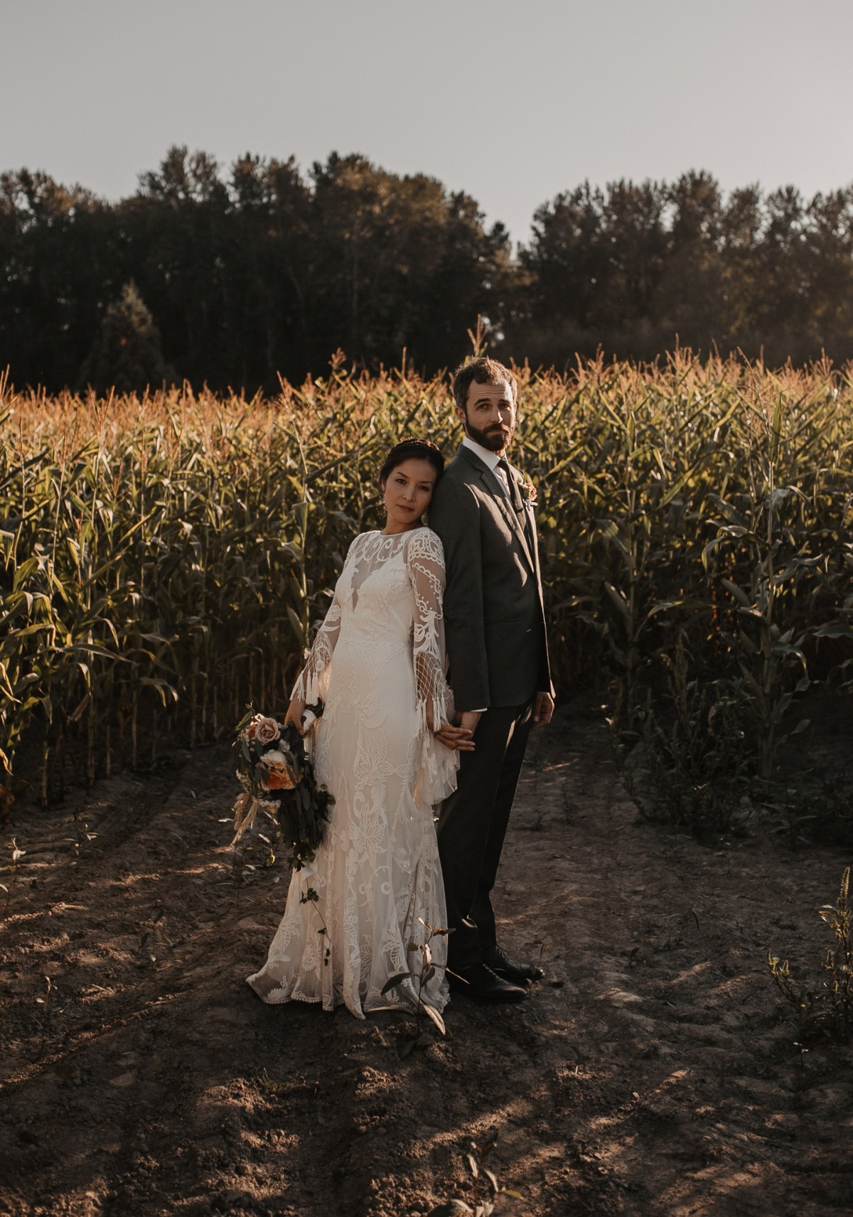 sweet country chic wedding couple