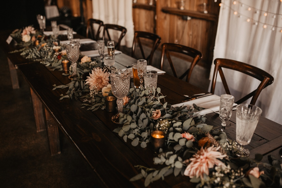 blush floral and eucalyptus garland table decor