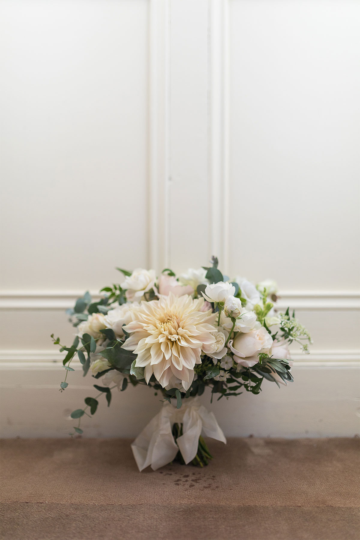 wedding bouquet in ivory and white