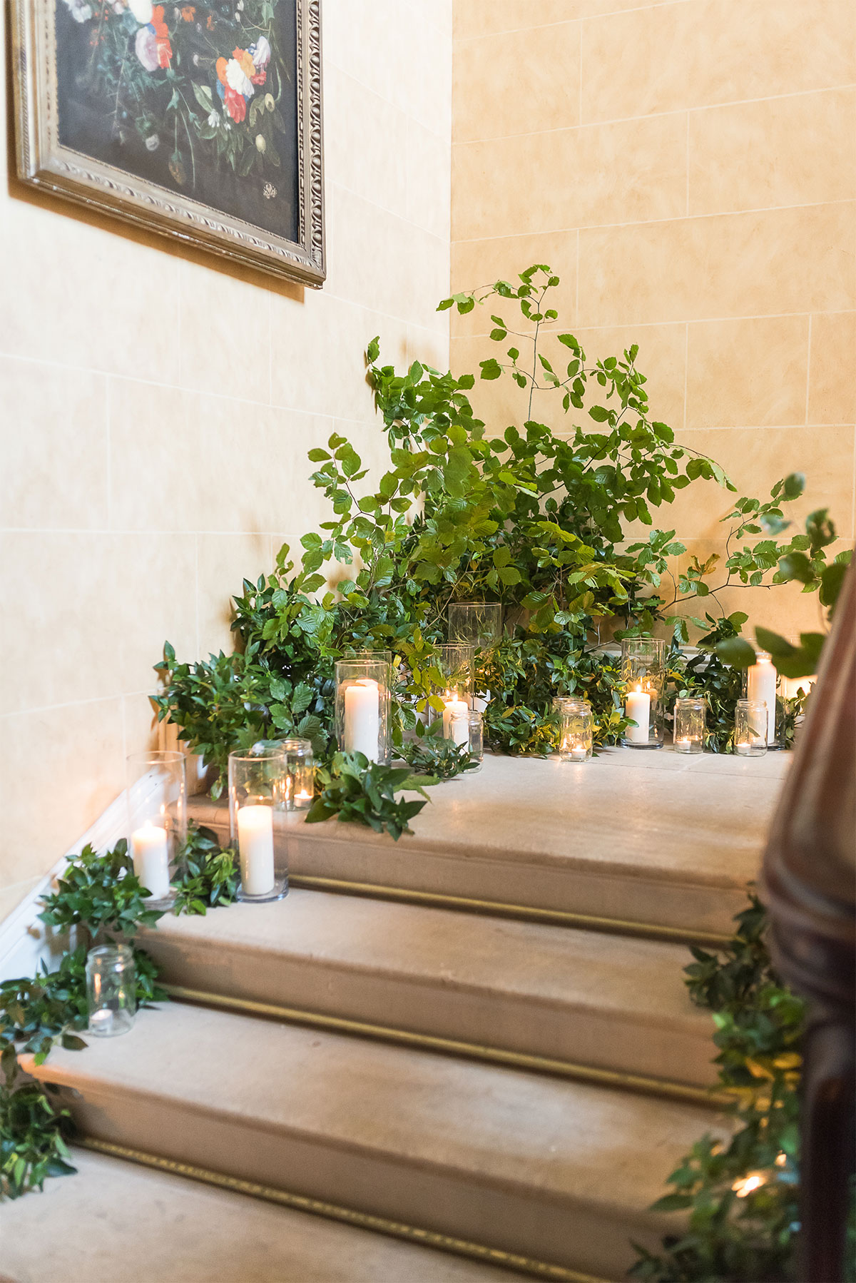 candle lit stairway