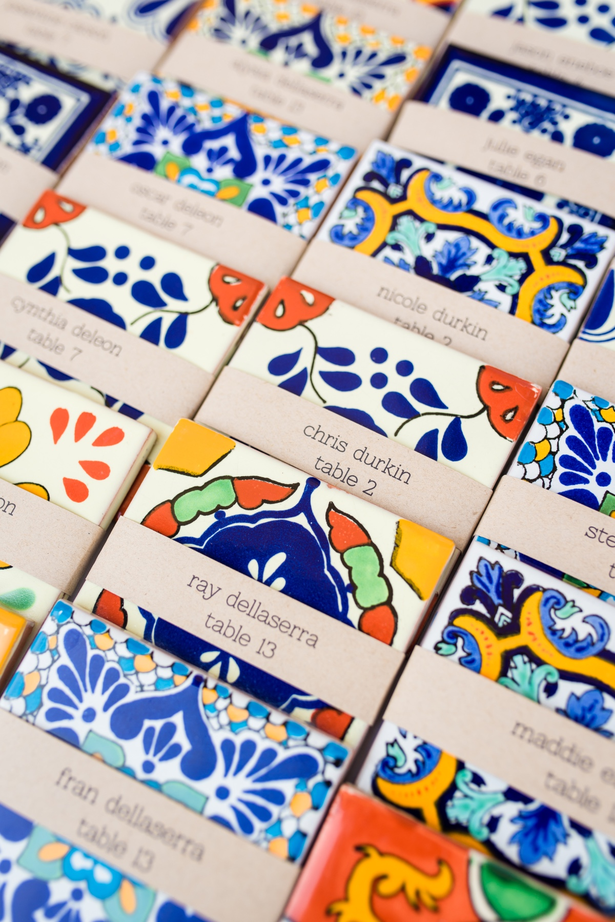 Spanish tile place cards