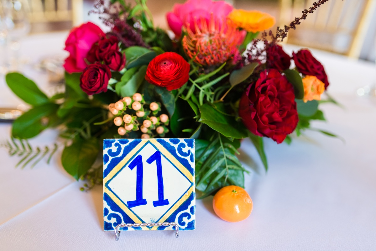 Spanish tile table number