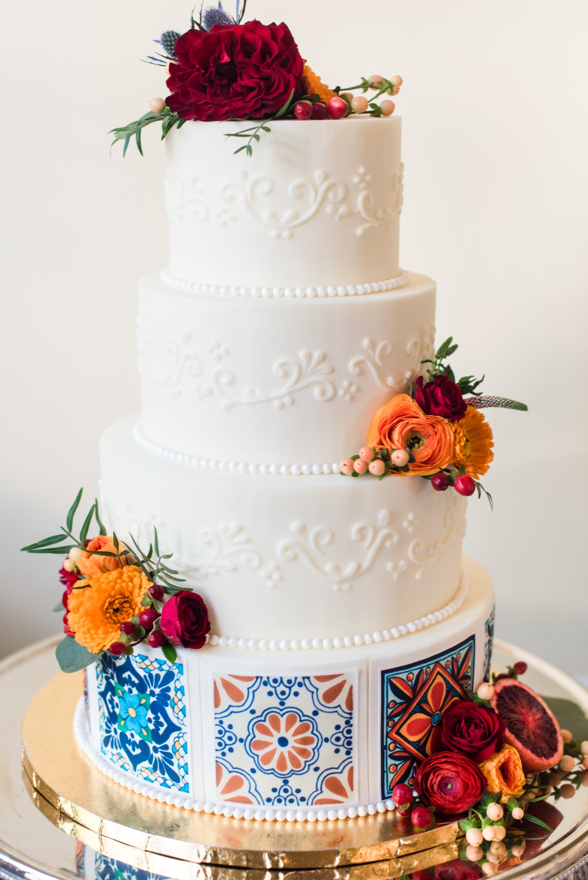 Colorful tile wedding cake