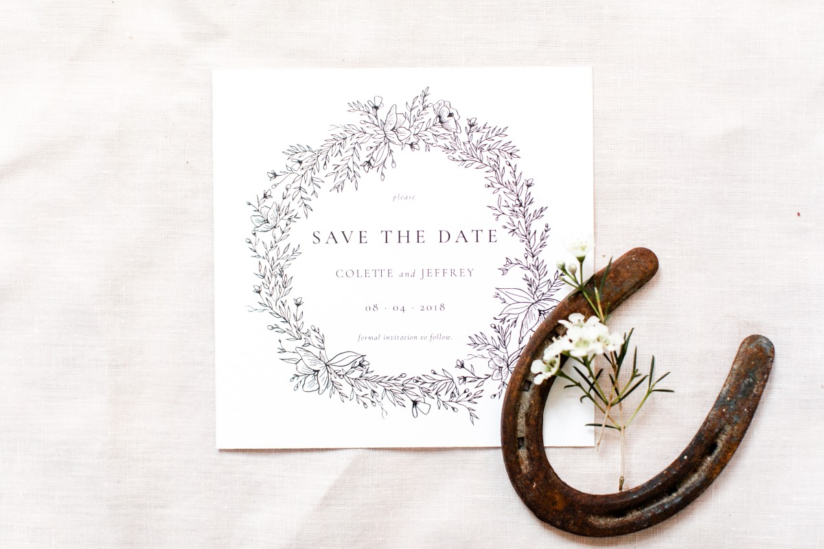 elegant line art wedding save the date