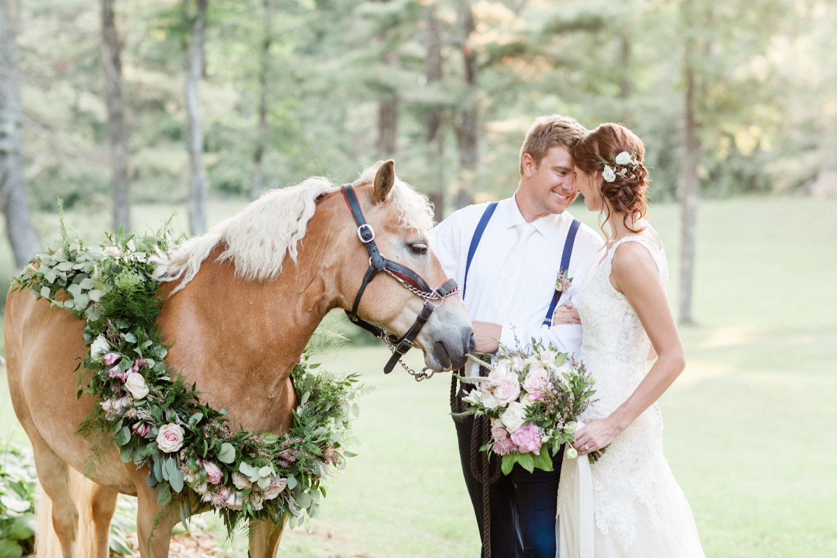 equestrian wedding couple photo idea
