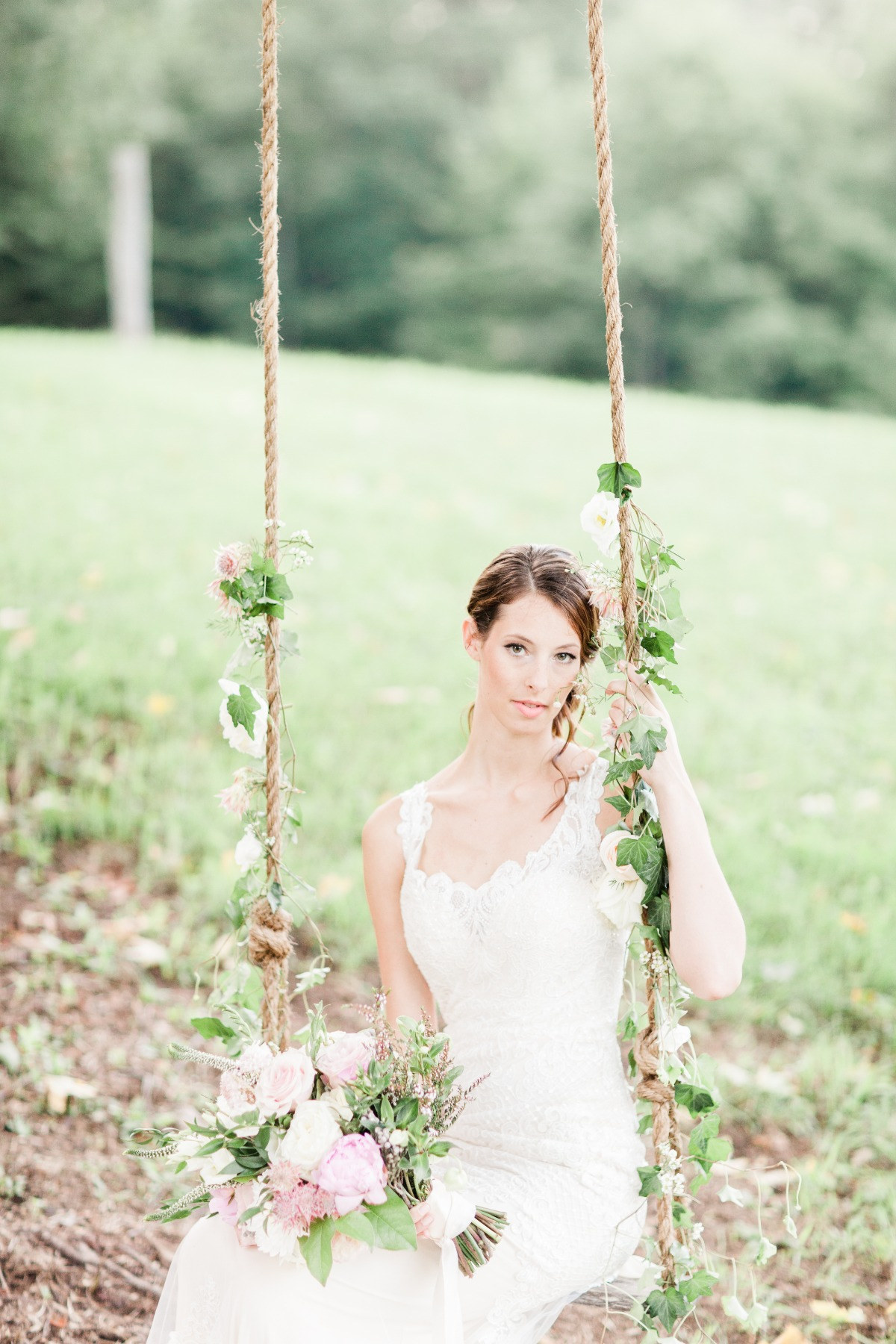 bridal portrait on wedding swing