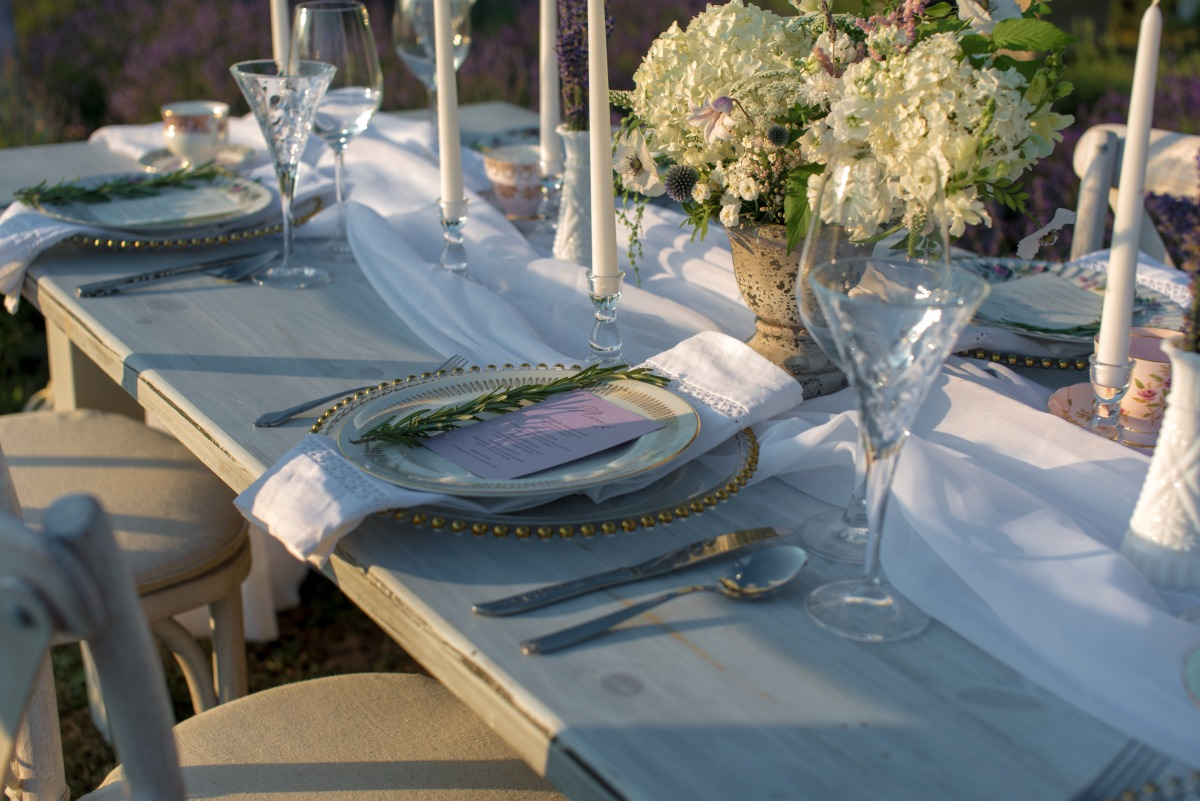French lavender reception table