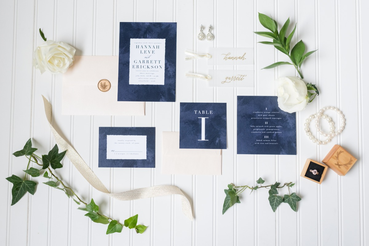 modern blue boarder wedding invitation suite