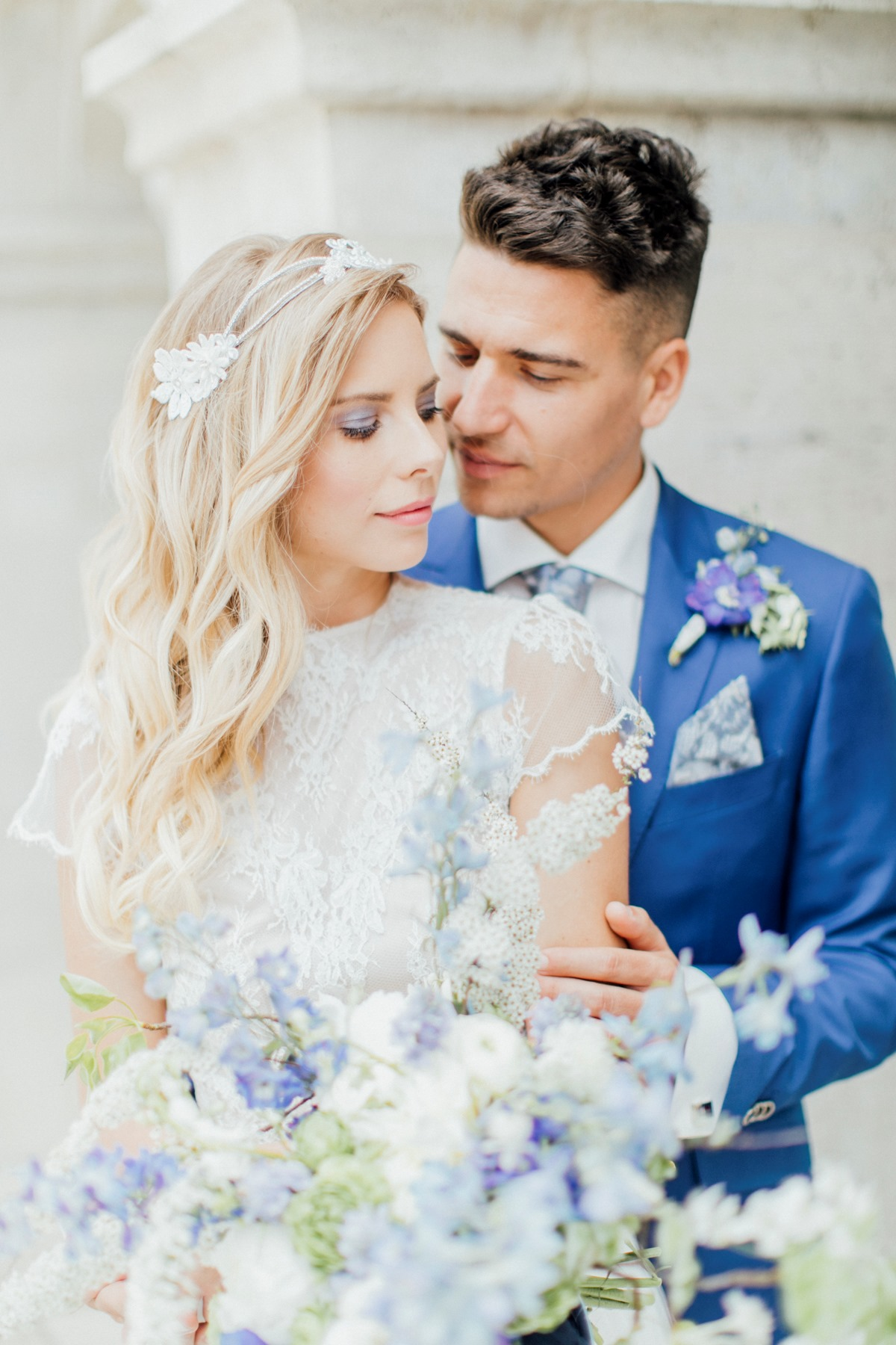 blue and white wedding in Budapest