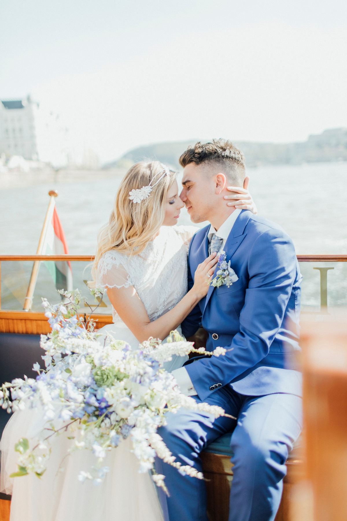 Romantic blue and white Budapest wedding ideas