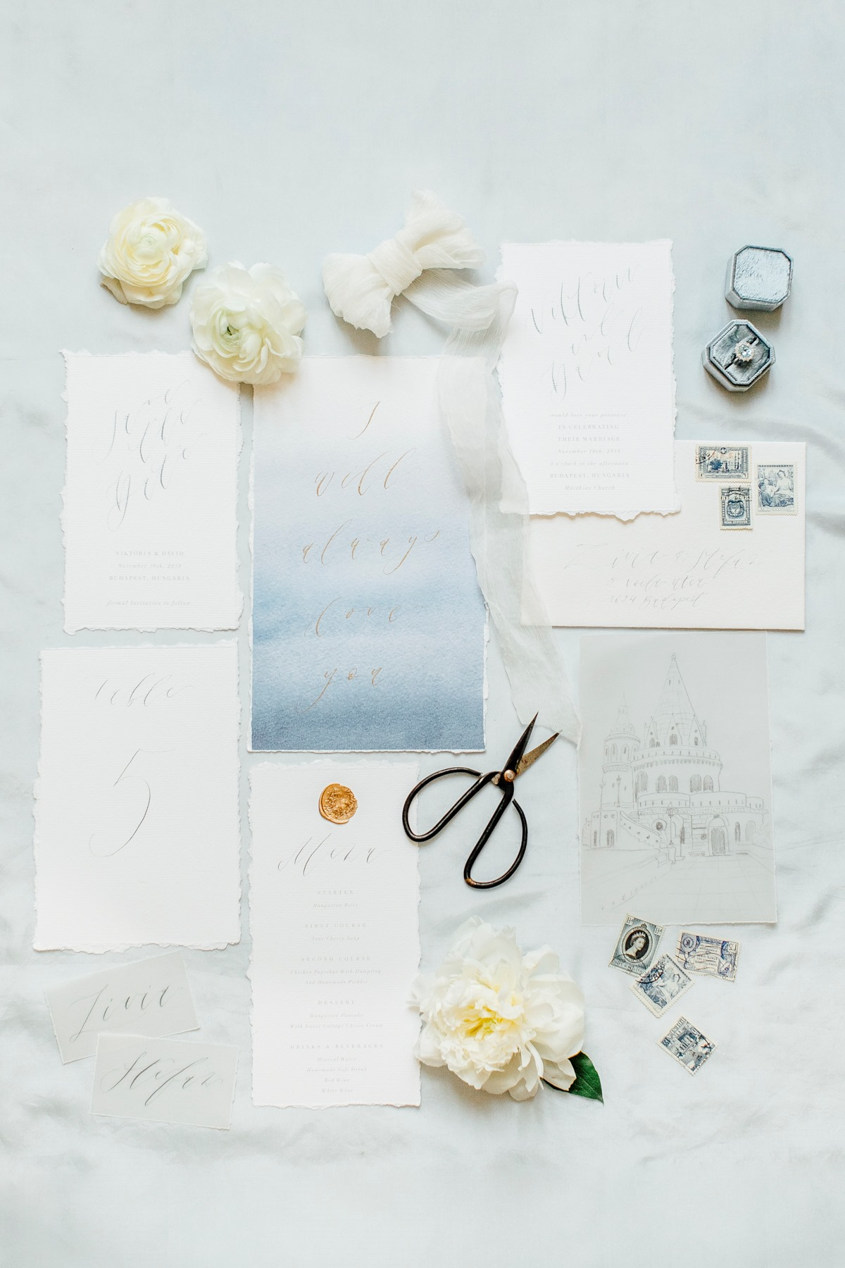 Watercolor raw edge invitation suite