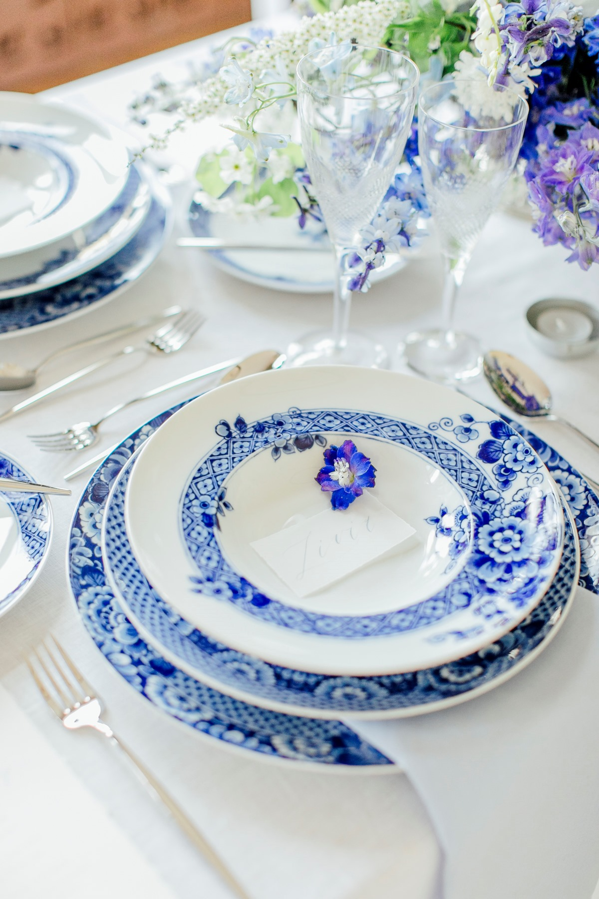 Blue and white wedding china