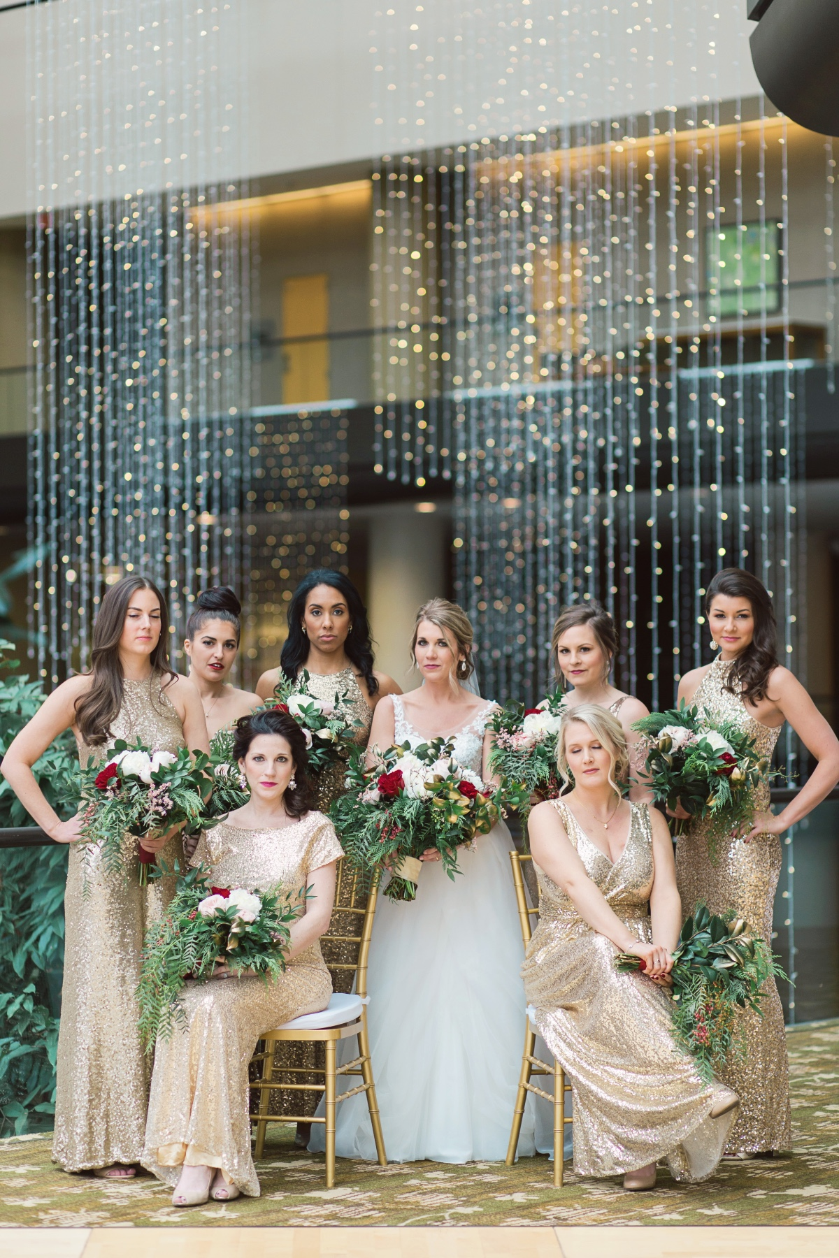 Bridesmaids in gold sparkle