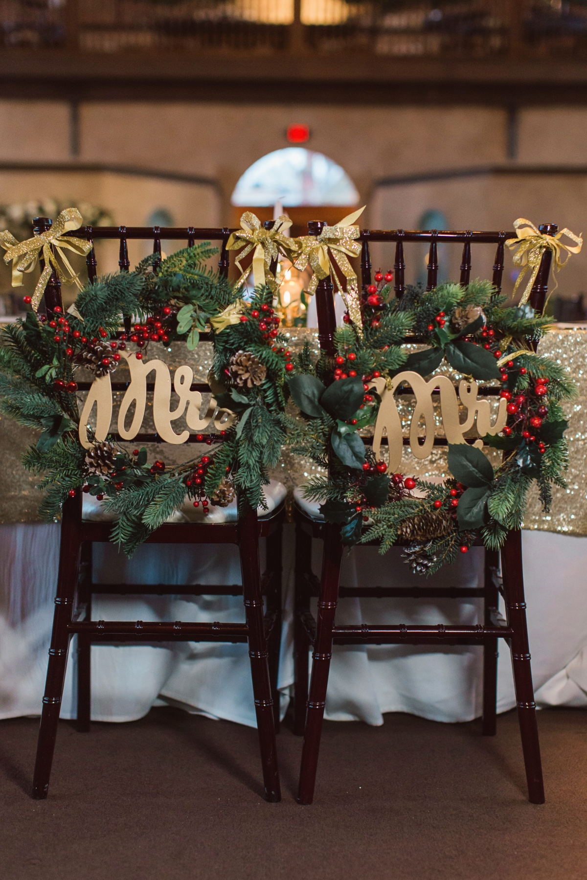 Mr. and Mrs. chair wreaths