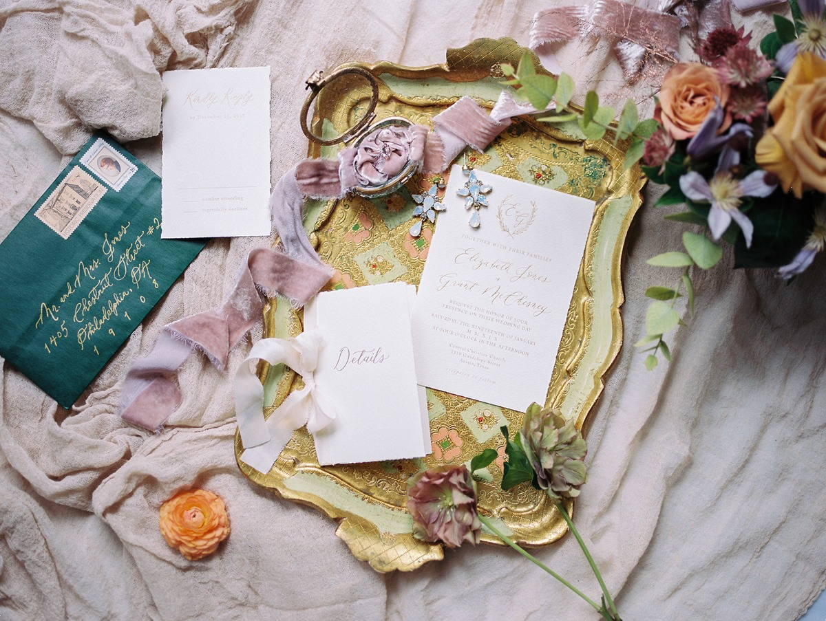 Gold and green invitation suite