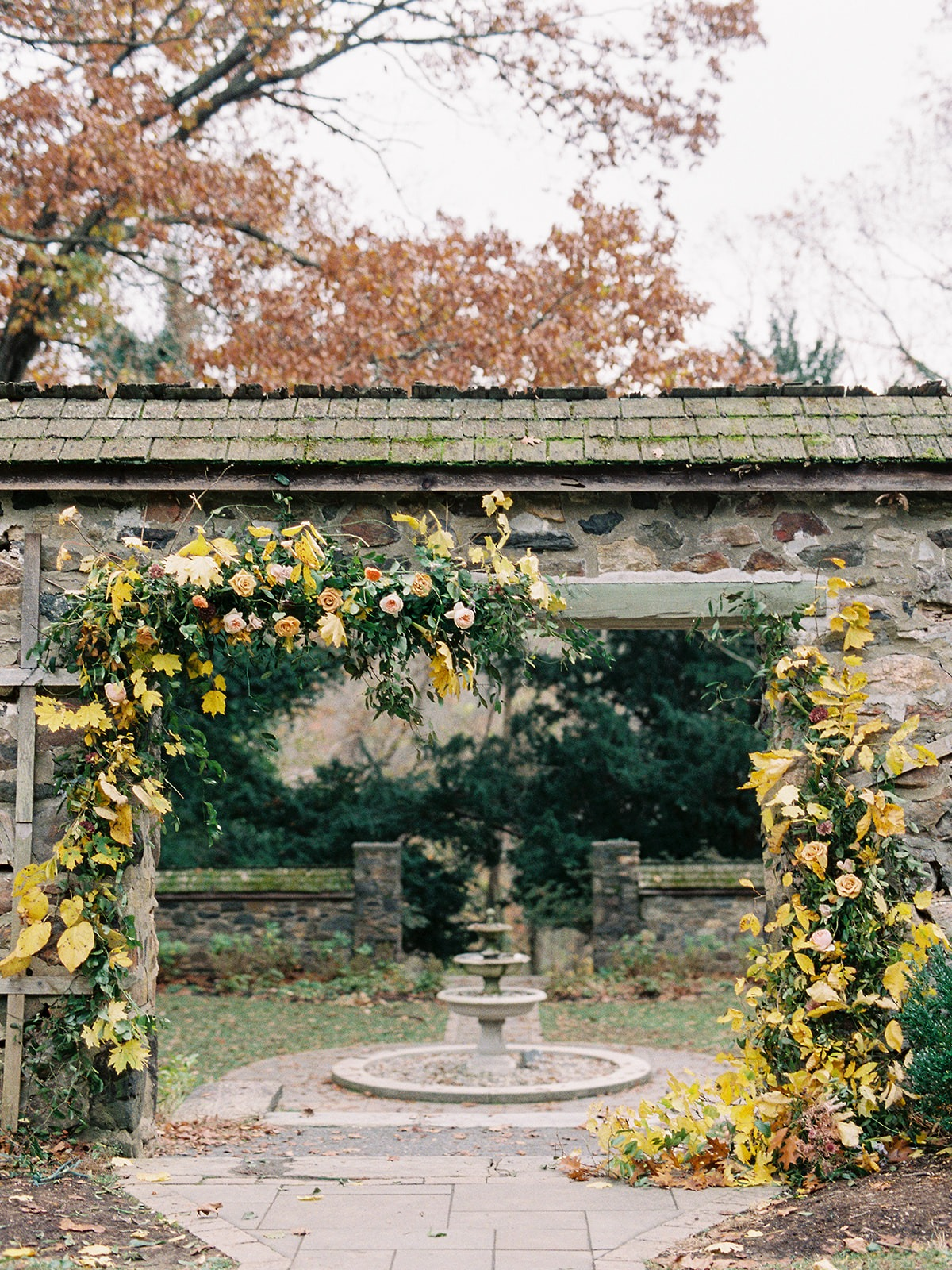 Fall floral ceremony backdrop