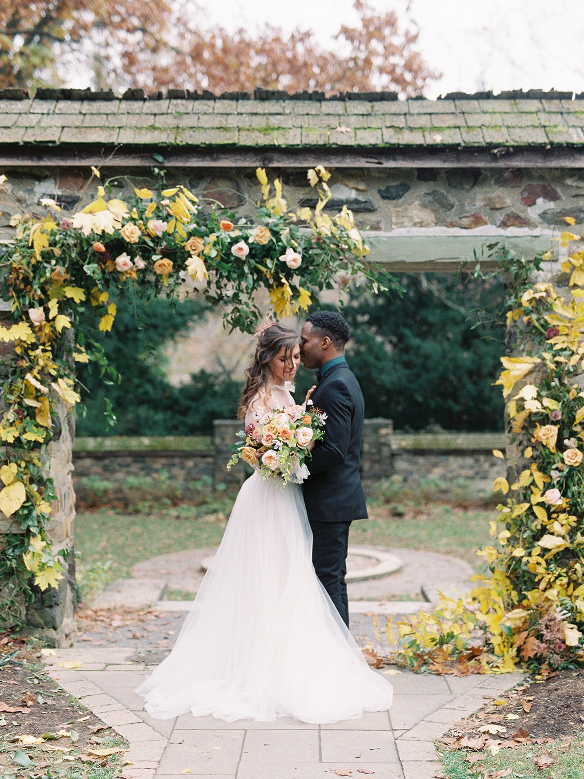 Fall floral wedding ceremony