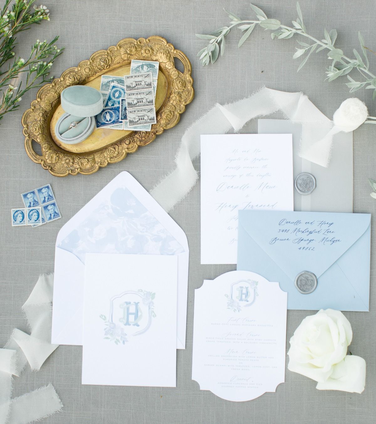 Blue and white invitation suite