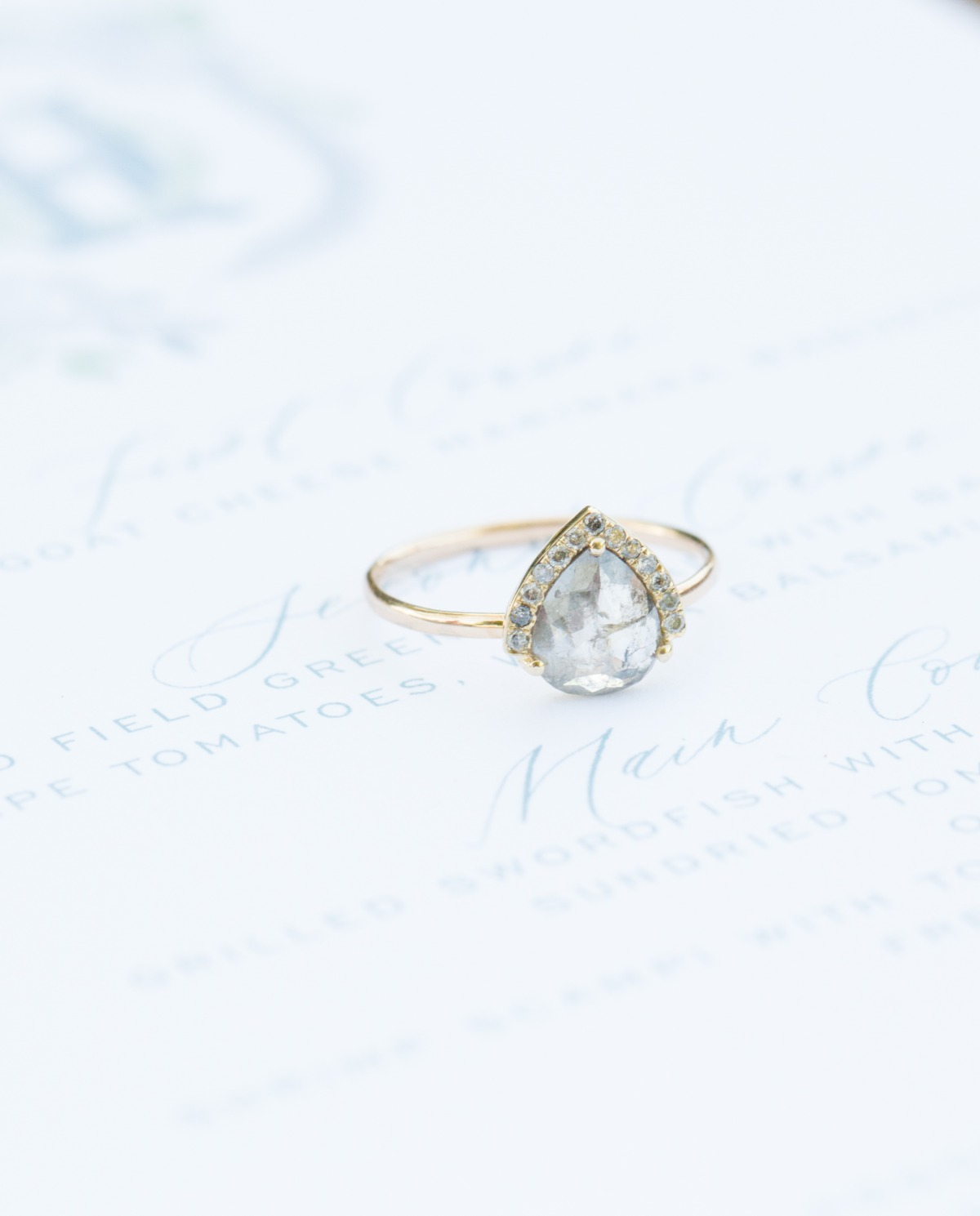 Half halo grey diamond ring