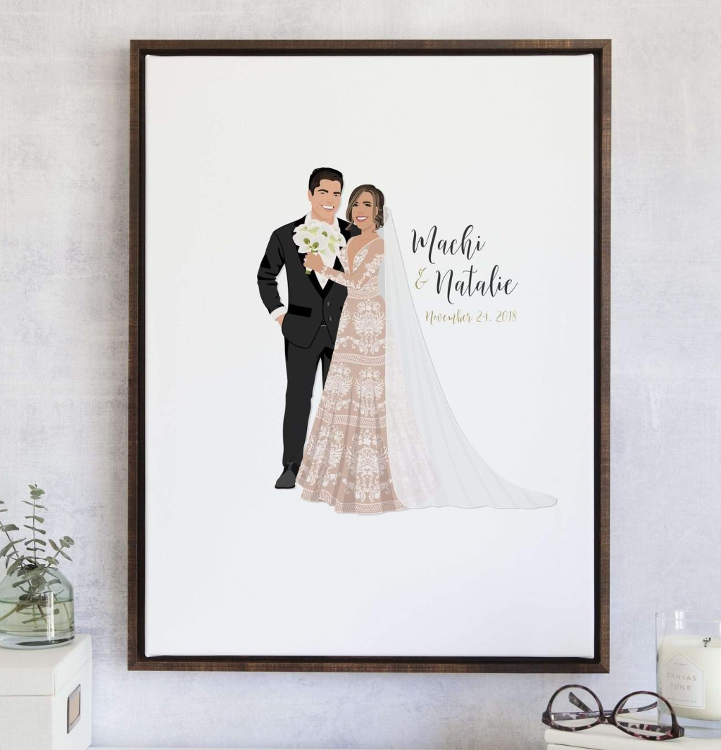 This amazing Wedding Guest Book Alternative with Couple Portrait is our best seller, The Penny! Add on your bouquet, your pets, and