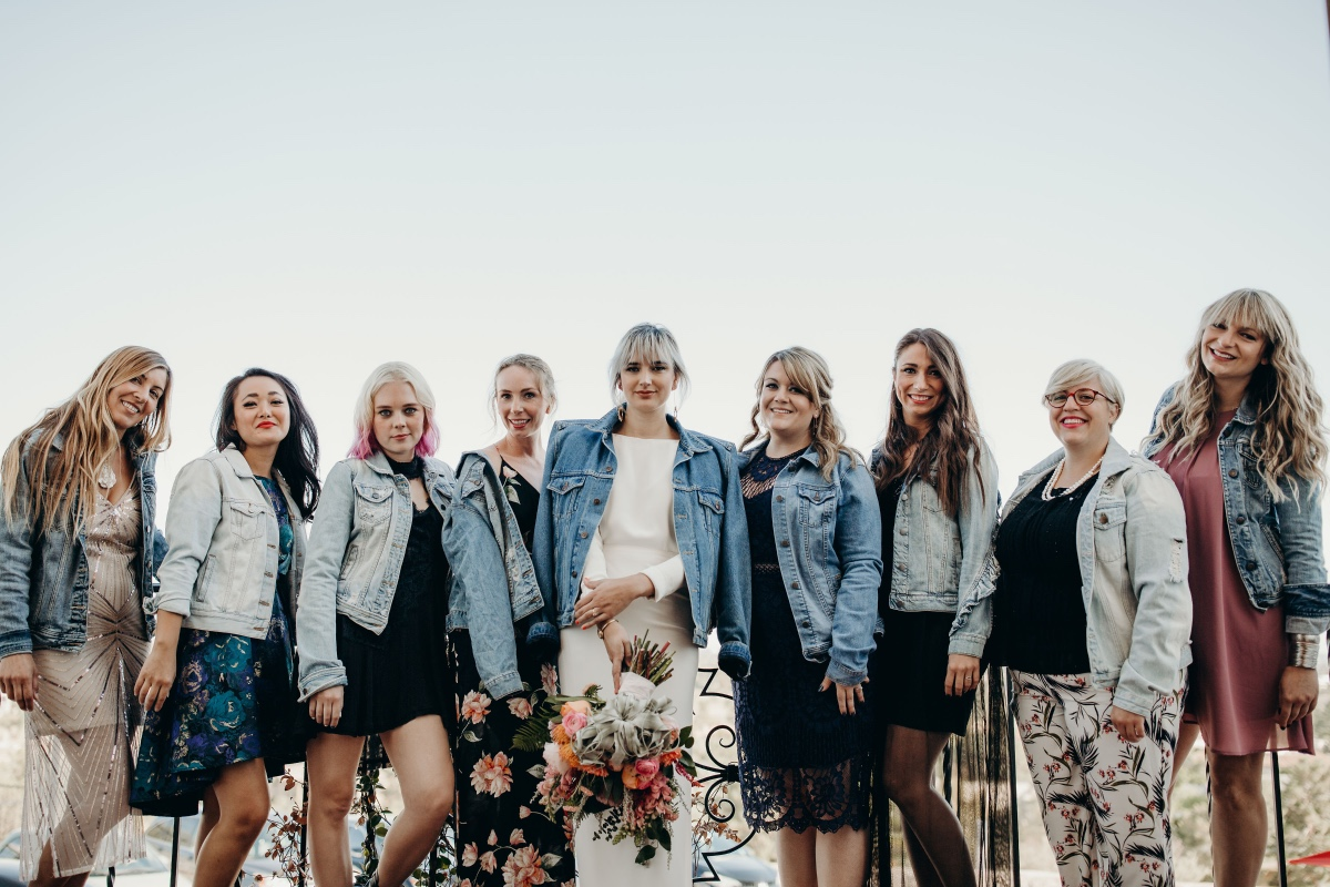 Bridesmaids in denim jackets