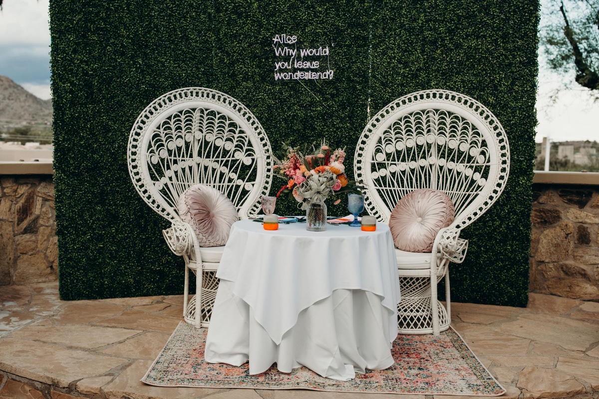 Peacock chairs for sweetheart table