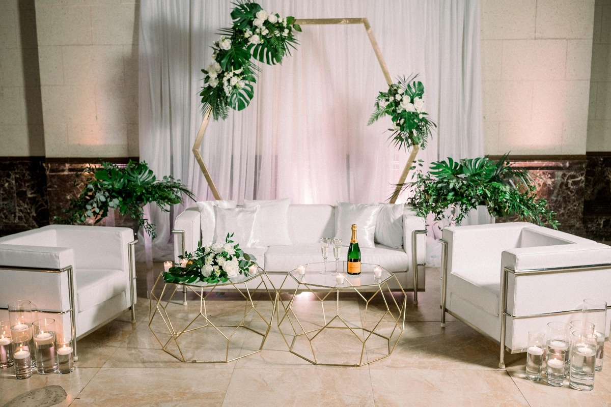 Tropical gold and white wedding