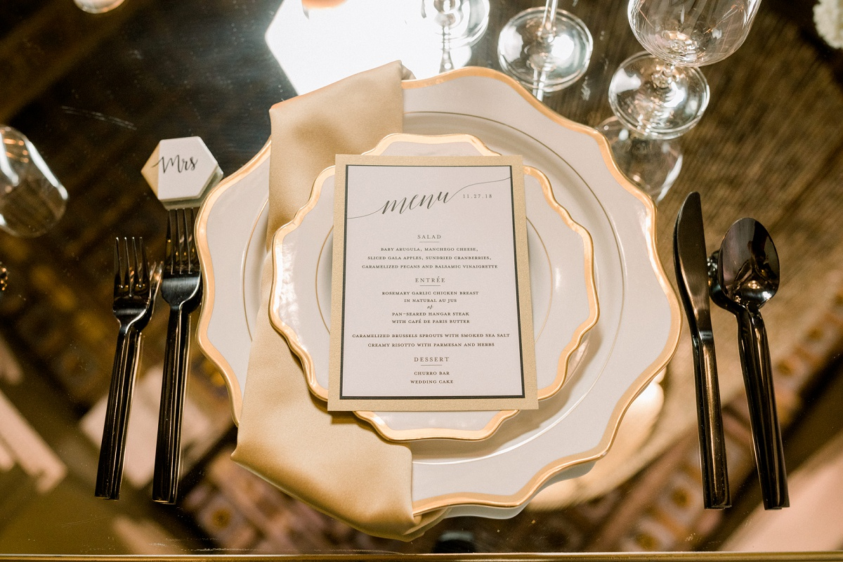 Bride and groom place setting