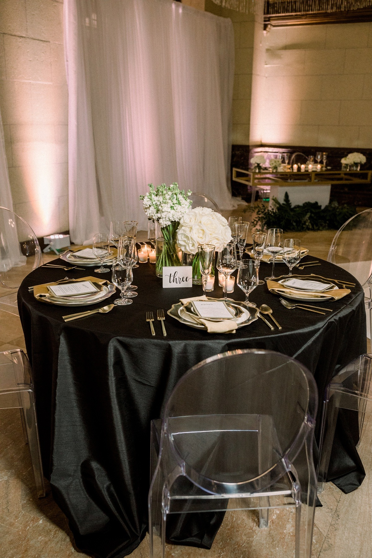 Black and gold New Years wedding