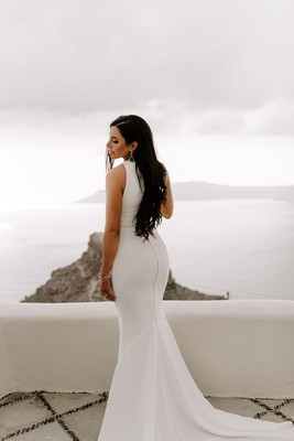 Stylish + Romantic Santorini Wedding for Two