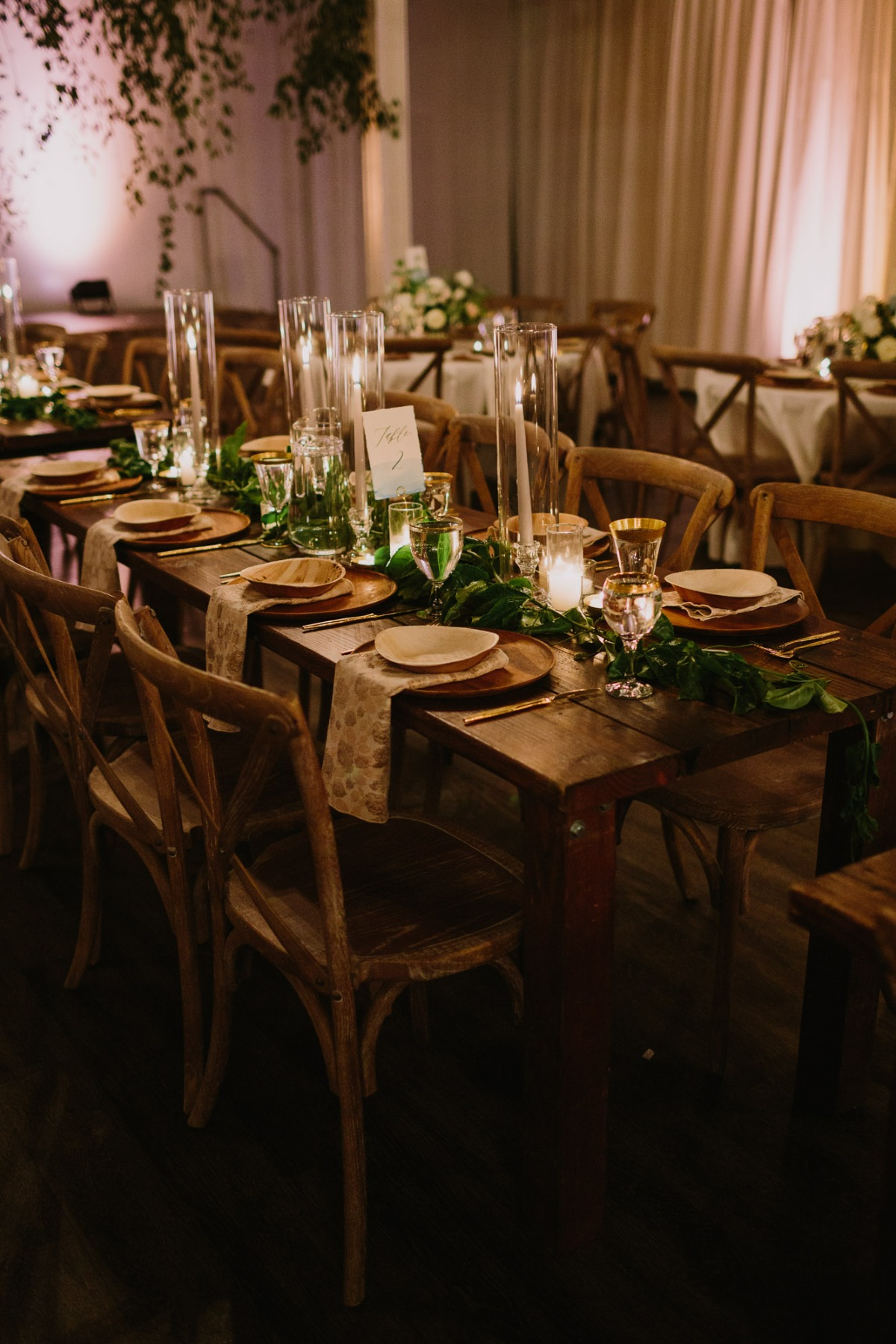 Greenery and candle light centerpiece