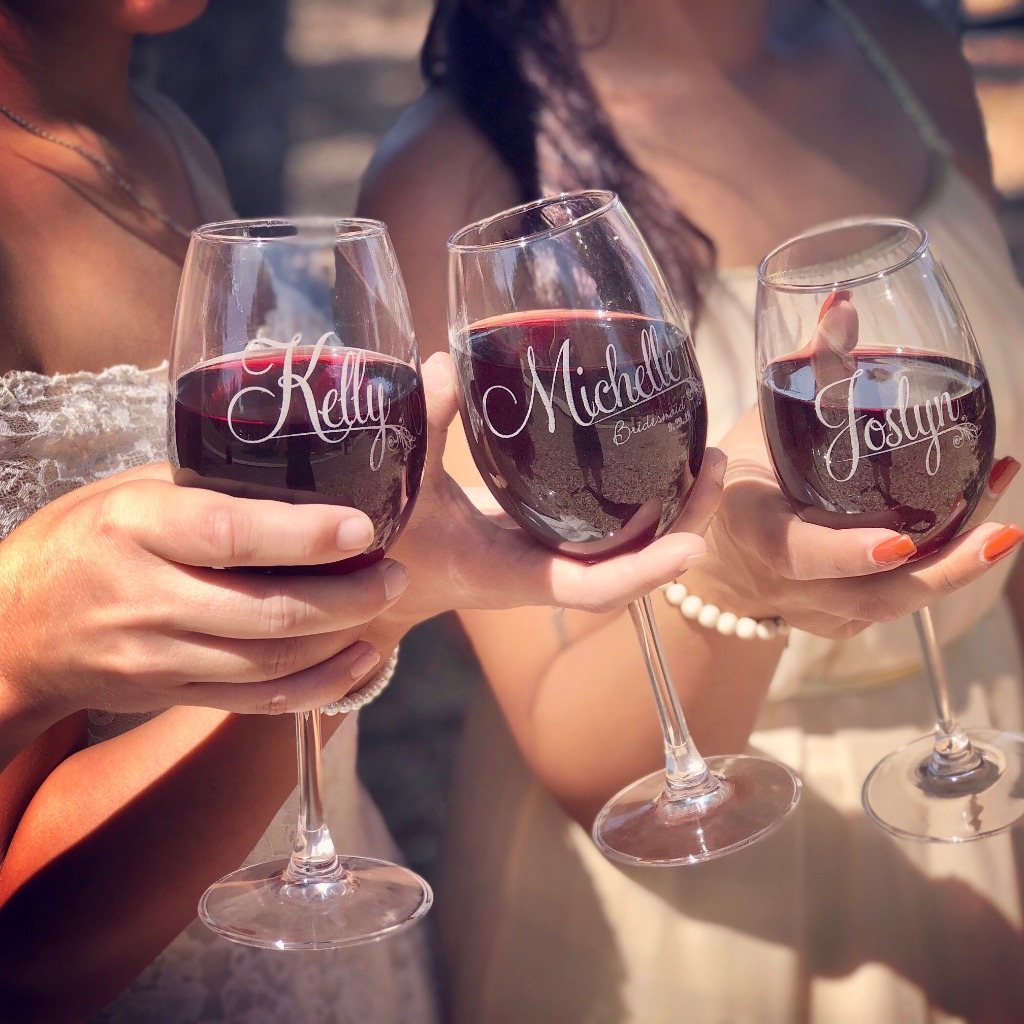 Bridal party wine glasses. Will you be my bridesmaid?
